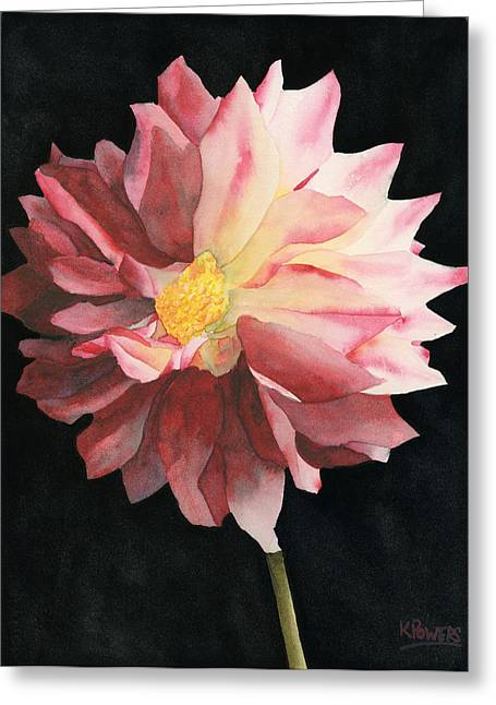 Greeting Card featuring the painting Dahlia by Ken Powers