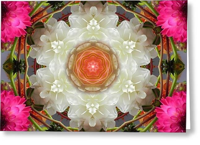 Dahlia Portal Mandala Greeting Card