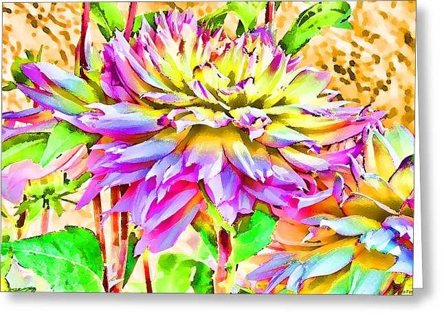 Greeting Card featuring the photograph Dahlias In Digital Watercolor by Sandra Foster
