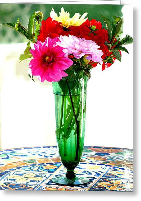 Dahlias On A Table In The Sun Greeting Card