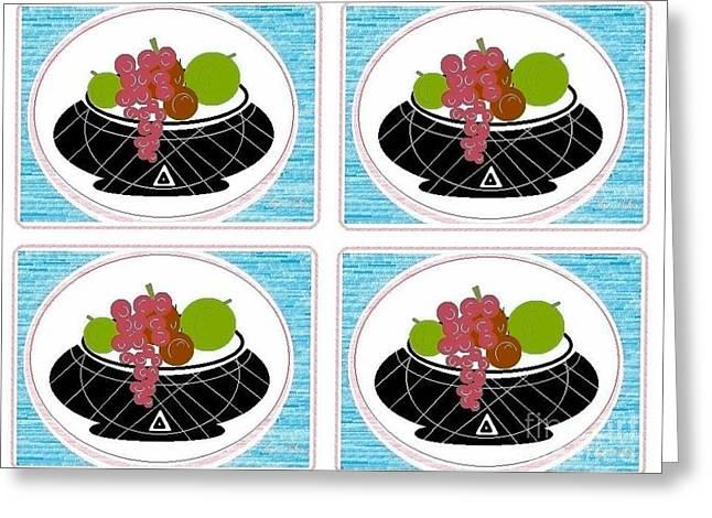 Greeting Card featuring the digital art Daily Fruit by Ann Calvo