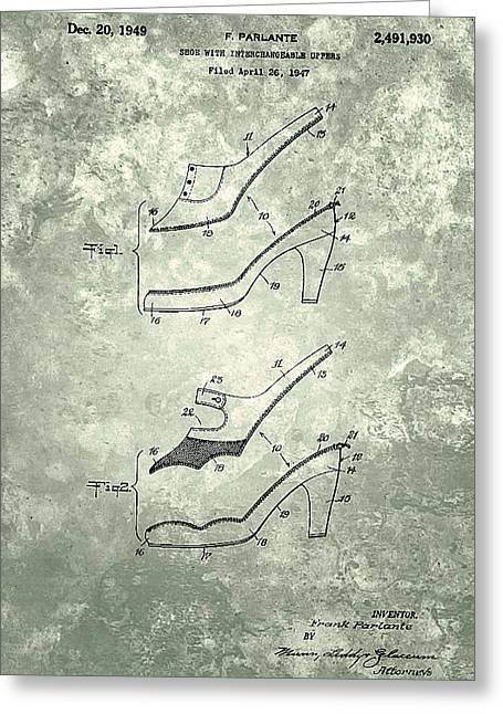 Shoe With Interlace Upper Patent 1949 Greeting Card by Celestial Images