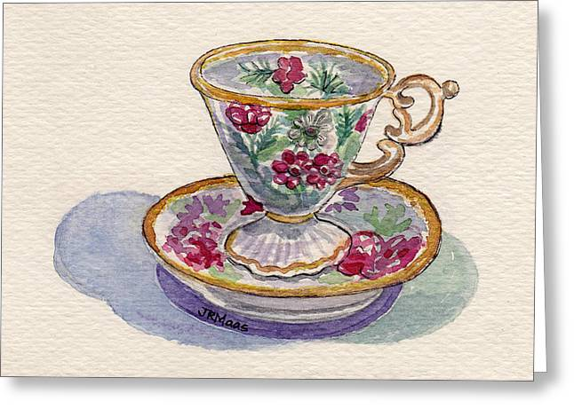 Greeting Card featuring the painting Dainty Tea Cup by Julie Maas