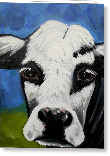 Dairy Cow Greeting Card by Marla Lobus