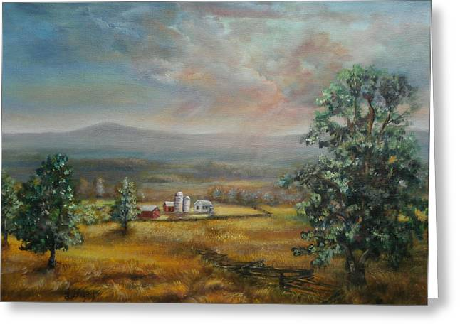 Greeting Card featuring the painting Dairy Farm Pennsylvania by  Luczay