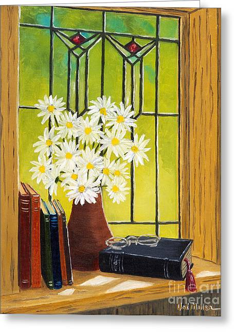 Greeting Card featuring the painting Daisies And Stained Glass Window by Val Miller