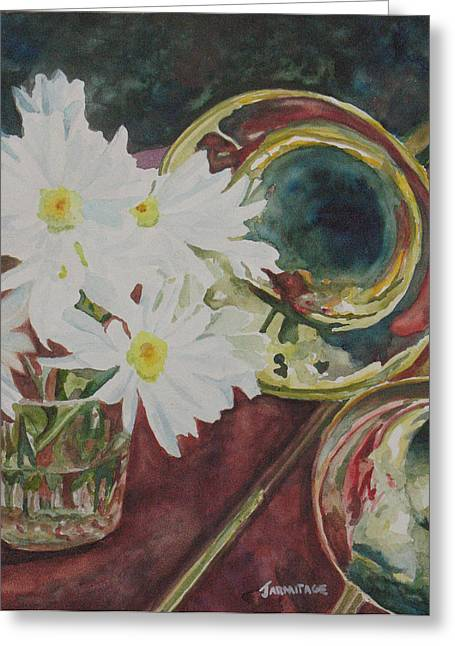 Daisies Bold As Brass Greeting Card by Jenny Armitage