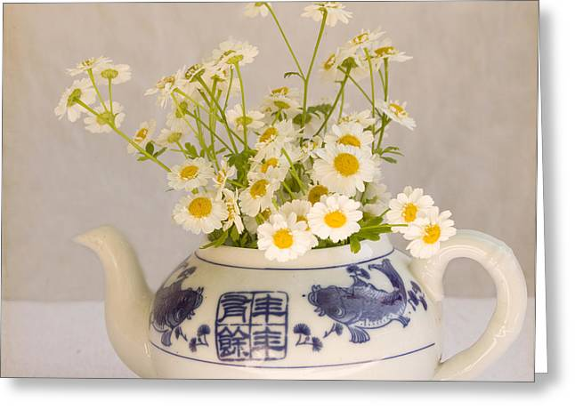 Greeting Card featuring the photograph Daisies In A Teapot by Peggy Collins