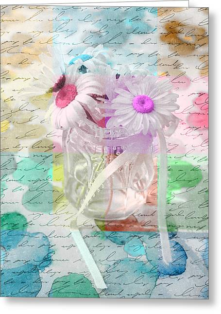 Pot Of Daisies 01a - Du Bonheur En Pot Greeting Card by Variance Collections