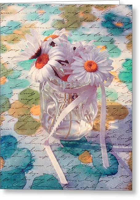 Daisies In Pot 02c - Du Bonheur En Pot Greeting Card