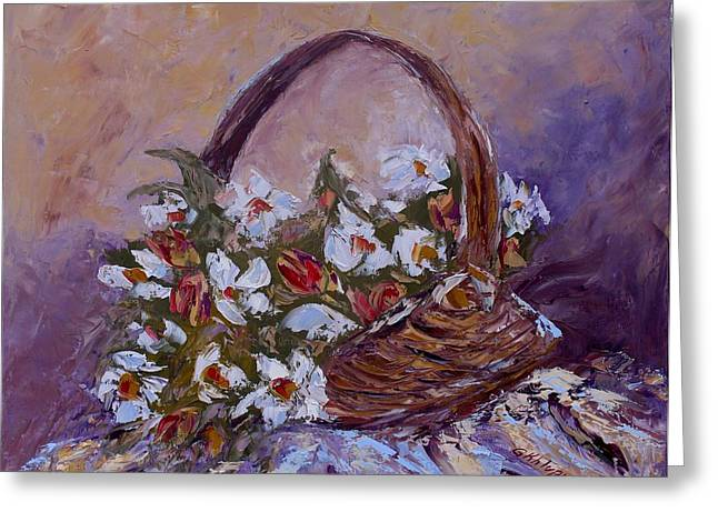 Daisies In The Old Basket Greeting Card