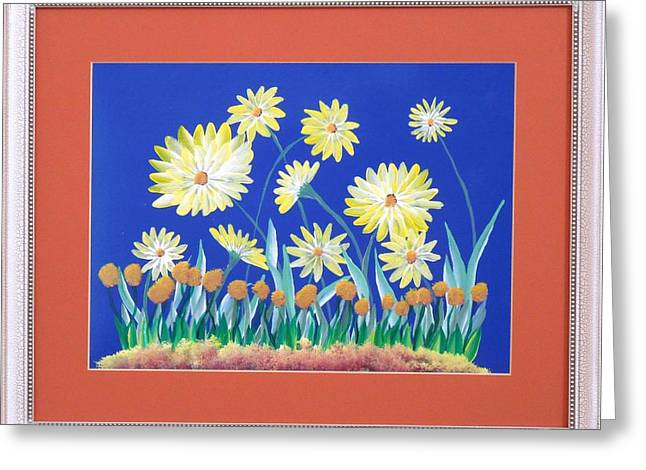 Greeting Card featuring the painting Daisies by Ron Davidson