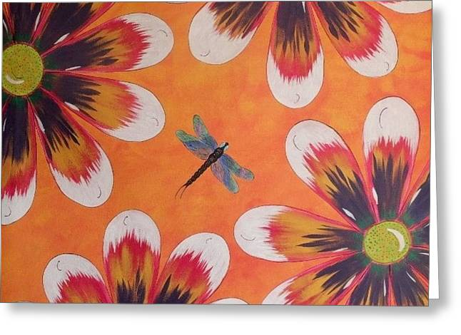 Greeting Card featuring the painting Daisy And Dragonfly by Cindy Micklos