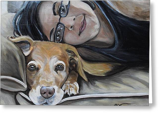 Daisy And Melissa Greeting Card by Melissa Torres
