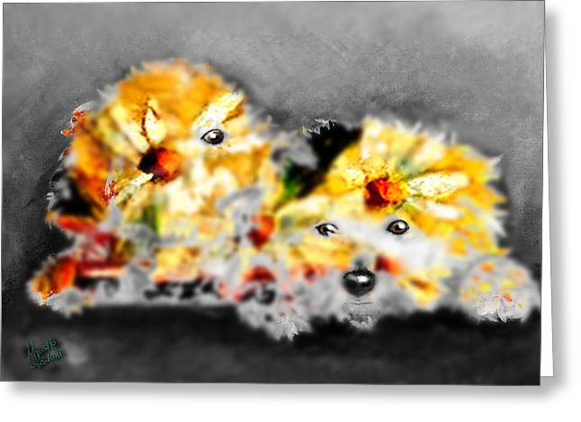 Daisy Animal Greeting Card by Marcello Cicchini