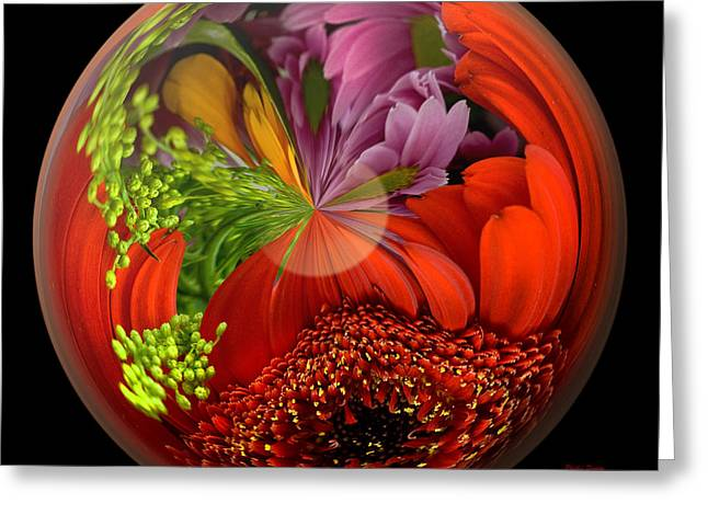 Paperweight Greeting Cards - Daisy Bouquet In A Globe Greeting Card by Phyllis Denton