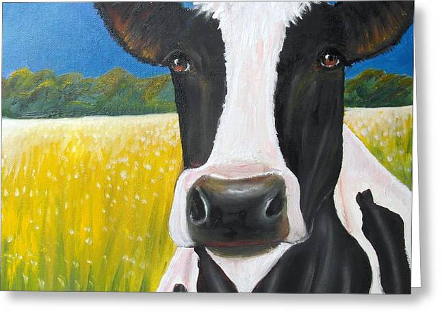 Daisy Cow Greeting Card by Anastasis  Anastasi