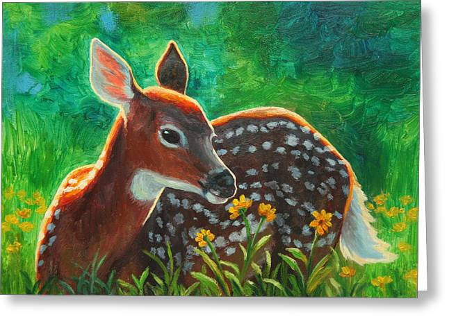 Daisy Deer Greeting Card by Crista Forest