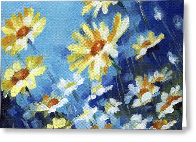 Greeting Card featuring the painting Daisy Field by Natasha Denger
