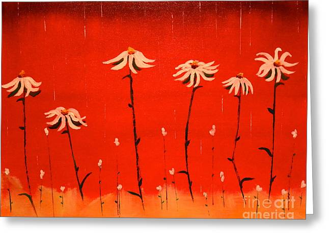 Greeting Card featuring the painting Daisy Rain by Denise Tomasura