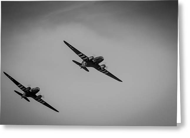 Greeting Card featuring the photograph Dakota D-day Black And White by Scott Lyons