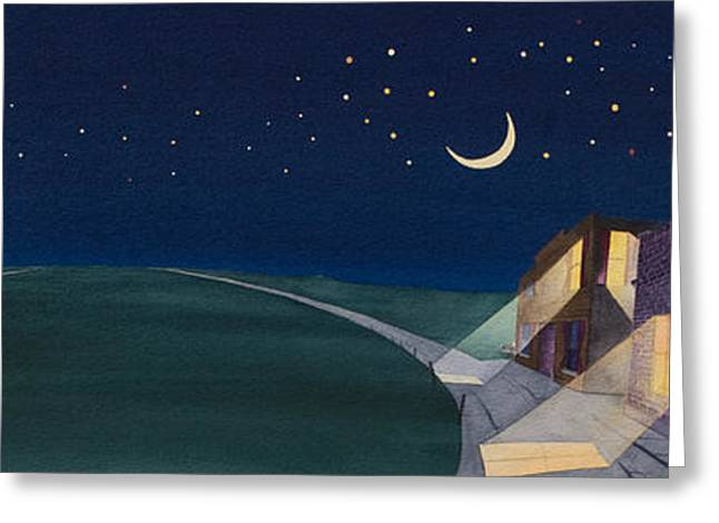 Greeting Card featuring the painting Dakota Moon II by Scott Kirby