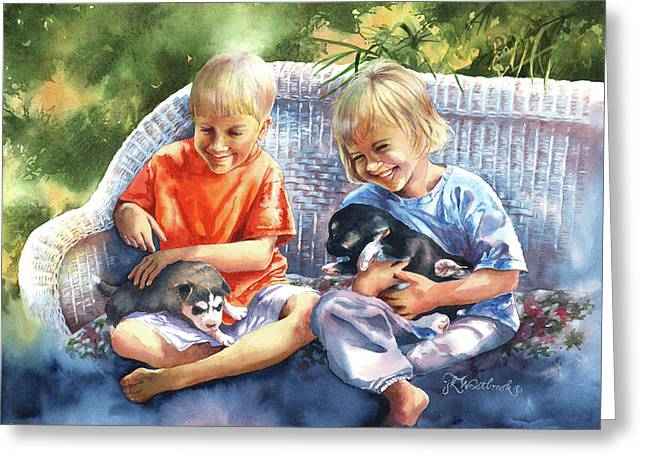 Dakotas Puppies Greeting Card