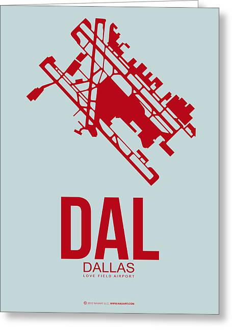 Dal Dallas Airport Poster 4 Greeting Card by Naxart Studio