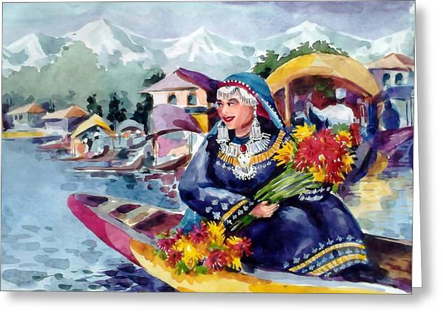 Dal Lake Jewel In The Crown Of Kashmir Greeting Card by Donna Jolly Jacob