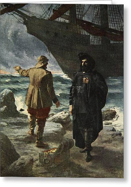 Daland Looked At The Stranger Keenly Greeting Card by Ferdinand Leeke