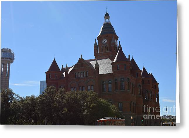 Dallas County Courthouse And Reunion Tower Greeting Card by Ruth  Housley
