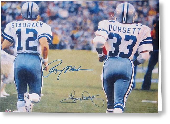 Dallas Cowboys #12 Roger Staubach And #33 Tony Dorsett Greeting Card by Donna Wilson