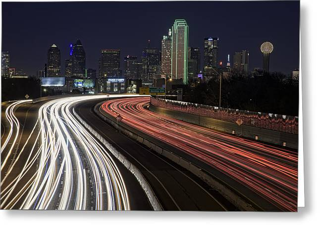 Dallas Night Greeting Card by Rick Berk