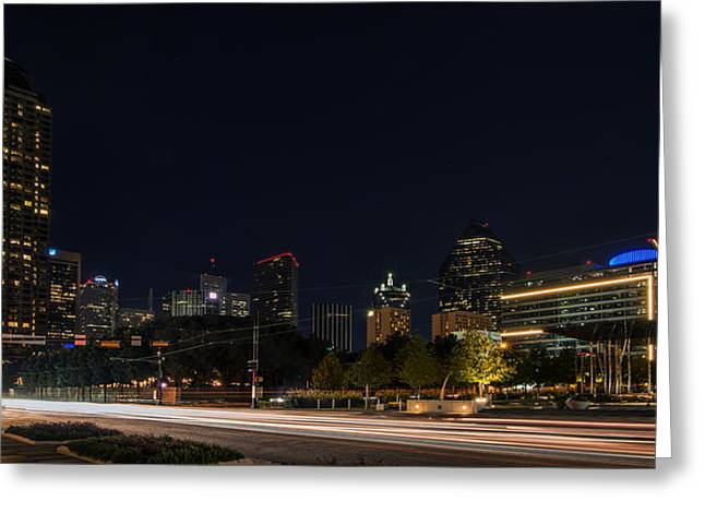 Dallas Night Skyline From Klyde Warren Park Greeting Card
