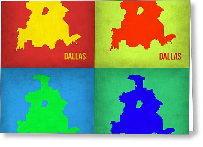 Dallas Pop Art Map 1 Greeting Card by Naxart Studio