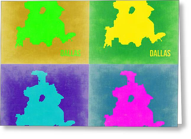 Dallas Pop Art Map 2 Greeting Card by Naxart Studio