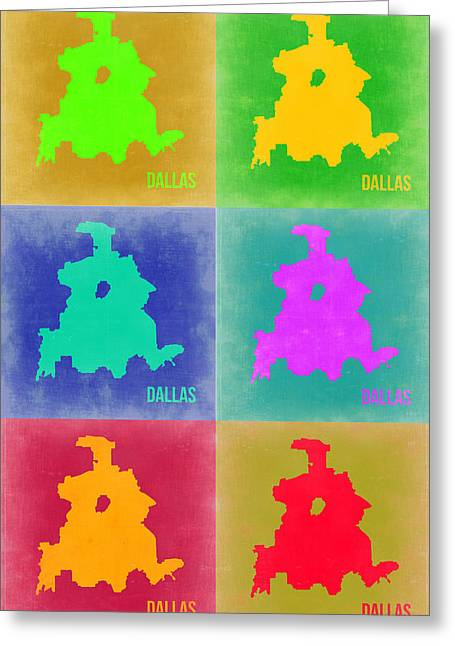 Dallas Pop Art Map 3 Greeting Card by Naxart Studio