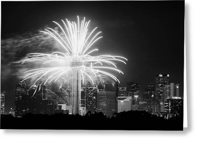 Dallas Reunion Tower Fireworks Bw 2014 Greeting Card