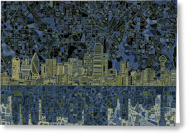 Dallas Skyline Abstract 2 Greeting Card