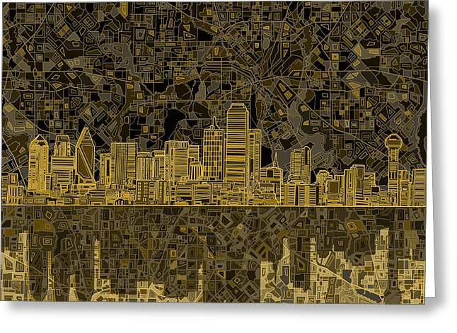 Dallas Skyline Abstract 3 Greeting Card by Bekim Art