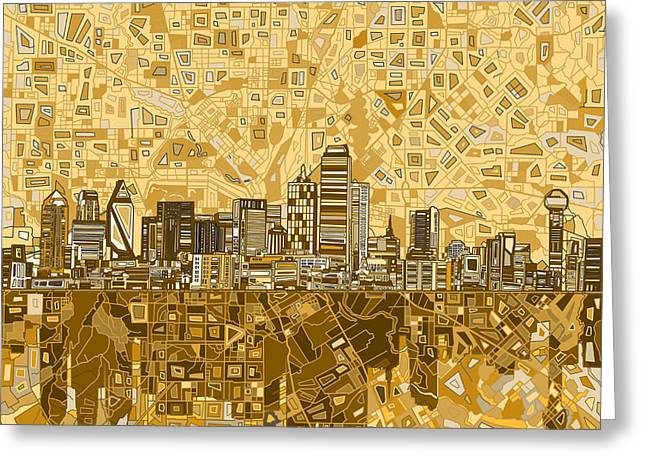 Dallas Skyline Abstract 6 Greeting Card