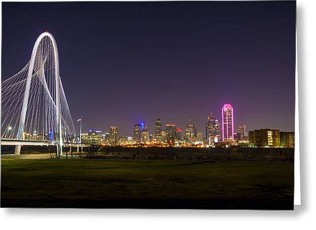 Dallas Skyline And Margaret Hunt Hill Bridge Greeting Card
