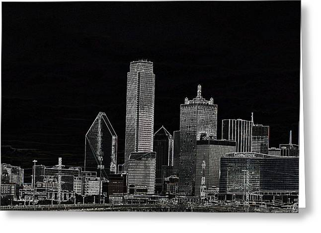 Dallas Skyline In Black - Center Greeting Card