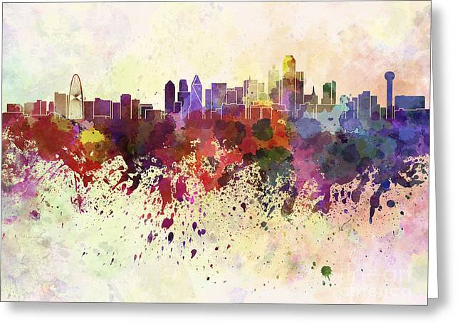 Dallas Skyline In Watercolor Background Greeting Card