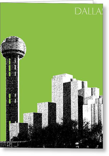 Dallas Skyline Reunion Tower - Olive Greeting Card by DB Artist
