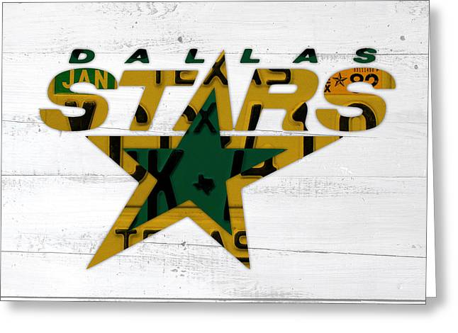 Dallas Stars Hockey Team Retro Logo Vintage Recycled Texas License Plate Art Greeting Card
