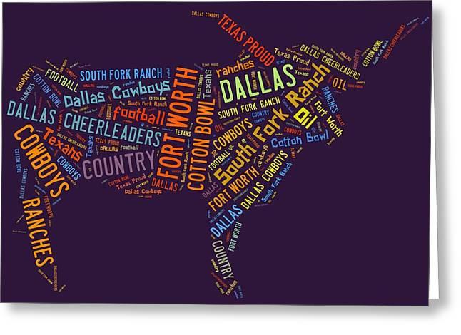 Dallas Text Art Greeting Card by Linda Brown