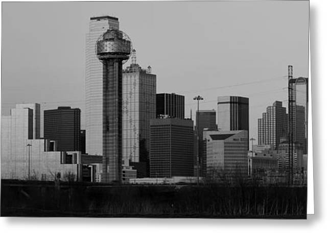 Dallas Trinity River Black And White Greeting Card by Jonathan Davison