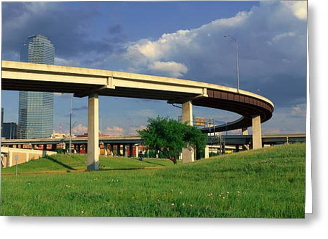 Dallas, Tx Skyline From Freeway Greeting Card by Panoramic Images