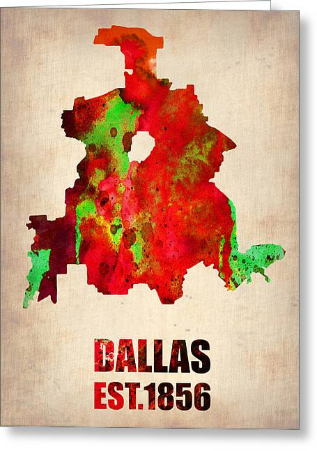 Dallas Watercolor Map Greeting Card by Naxart Studio